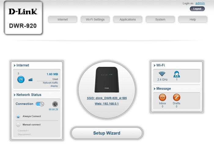 Review D-Link DWR-920 Control Panel