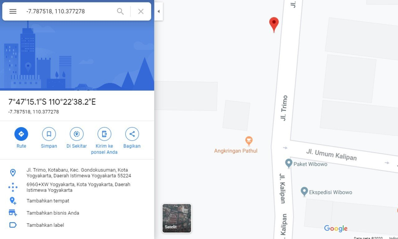 Cara memasukkan koordinat di google maps,google maps