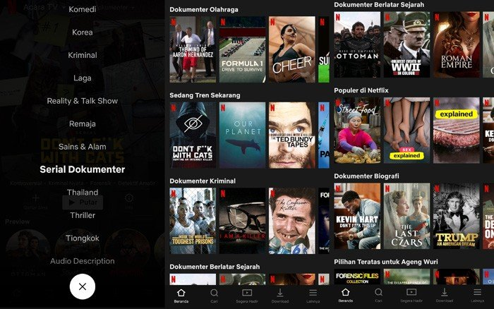Serial Dokumenter Netflix on Smartphone