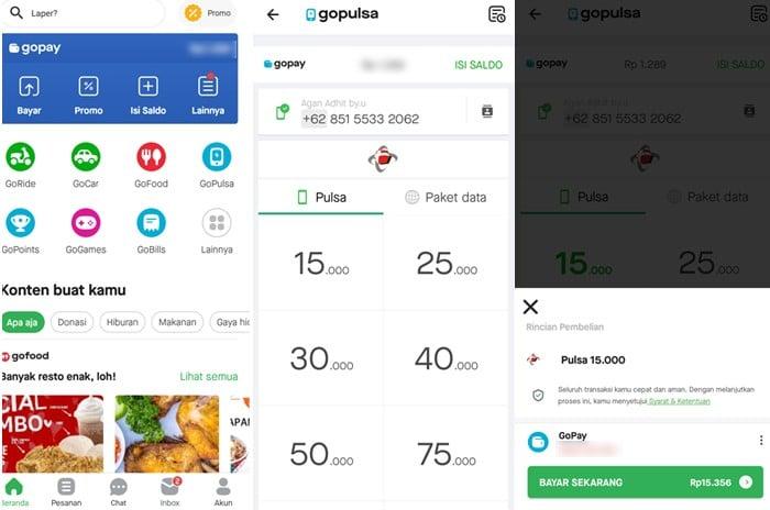 Steps to top up Telkomsel credit using GoPay