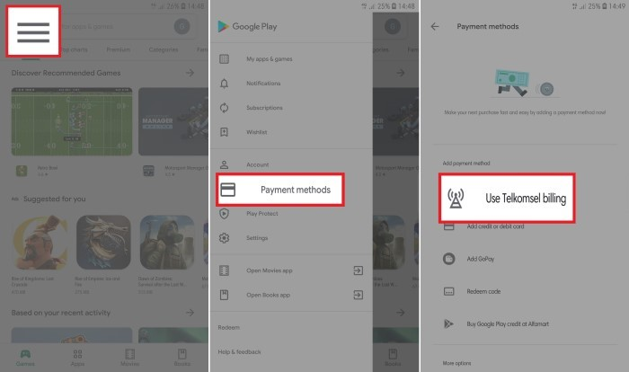 Top Up Mobile Legend Pulsa Telkomsel Google payment
