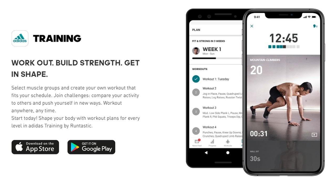 Adidas Runtastic Training App Header