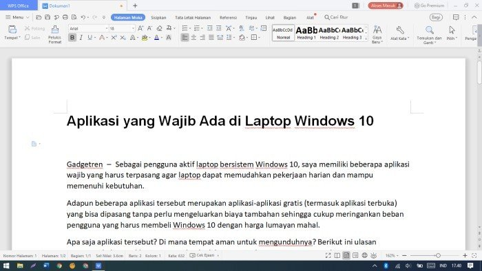 Aplikasi yang Wajib Ada di Laptop Windows 10 - WPS