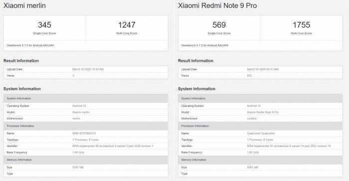 Bocoran Redmi Note 9 Benchmark Geekbench