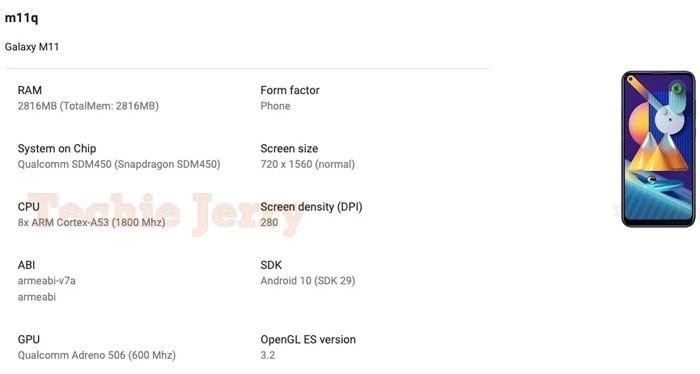 Samsung Galaxy M11 Leak Spek