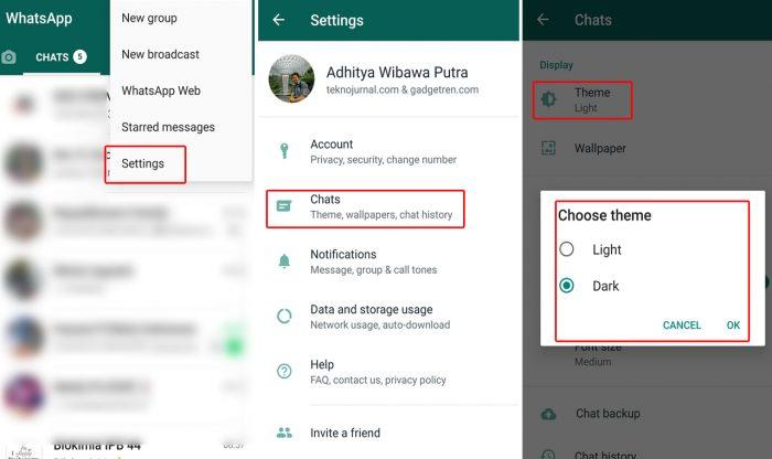 langkah aktifkan dark mode whatsapp