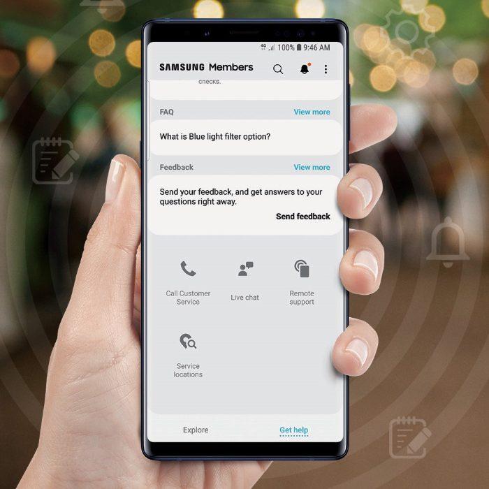 Fitur Layanan Livechat dan Remote Support pada aplikasi Samsung Members