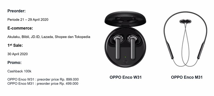 OPPO Enco M31 dan W31