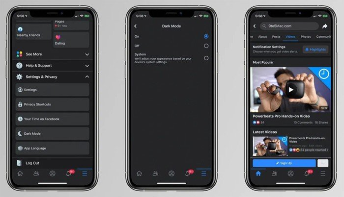 Dark Mode Facebook di iPhone