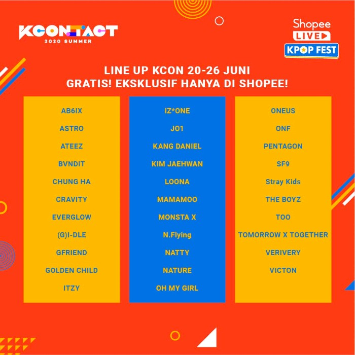 Line Up KCON_ TACT 2020 Summer