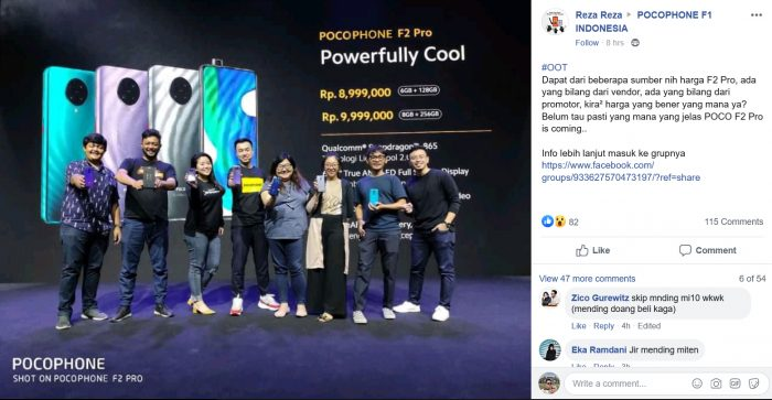 Pocophone F2 Pro Facebook