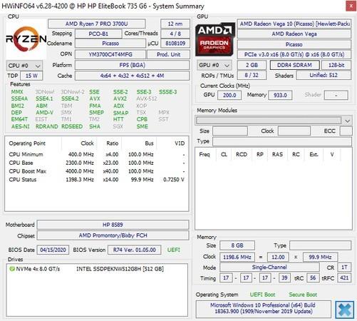 Review HP EliteBook 735 G6 HWiNFO