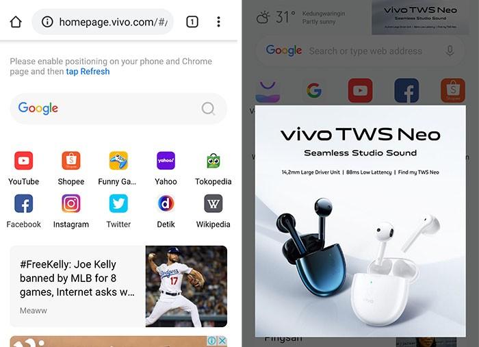 vivo X50 Pro Browser