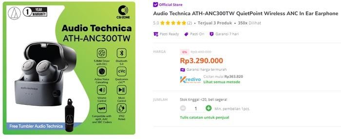 Audio-technica ATH-ANC300TW QuietPoint Tokopedia