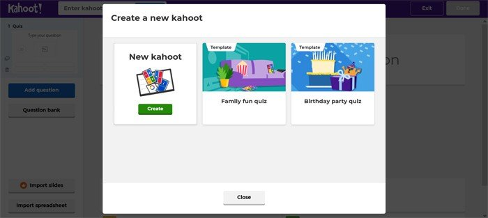 Kahoot Create Quiz