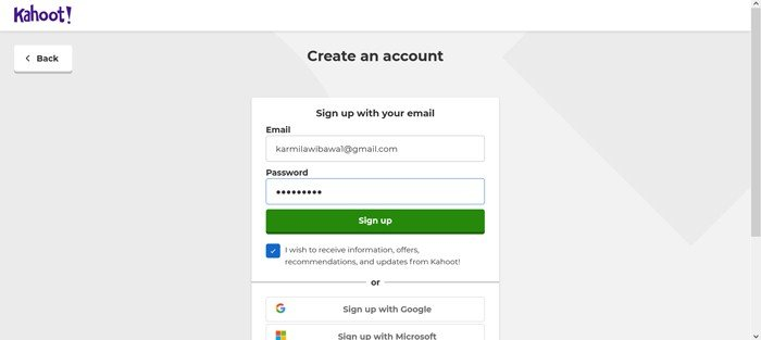 Kahoot Create account with email