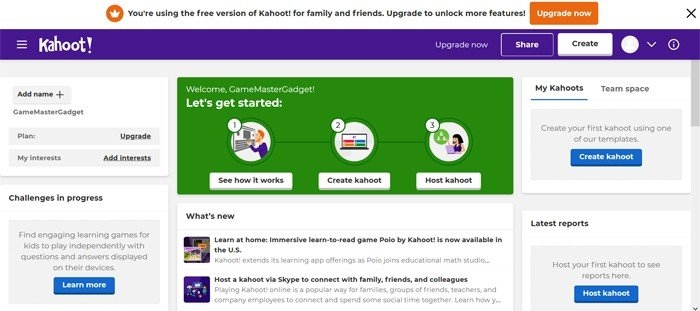 Kahoot Dashboard Account