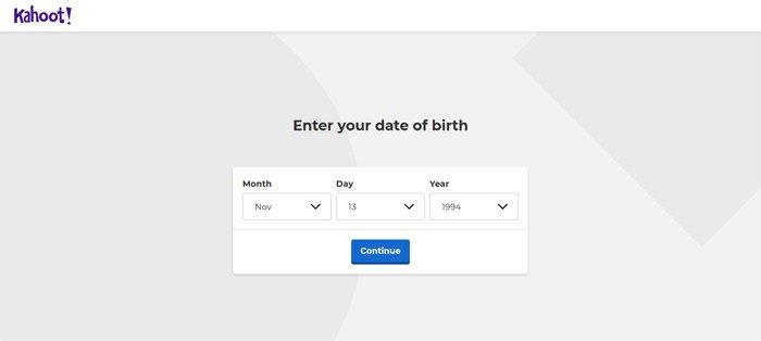 Kahoot Enter Date Birth