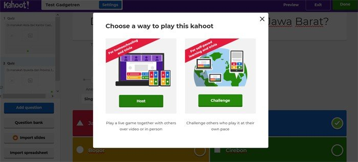 Kahoot Host and Challenge