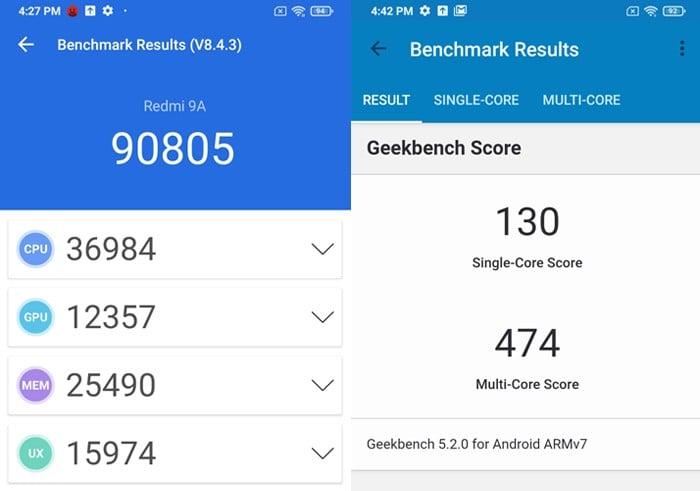 Redmi 9A Benchmark Performance