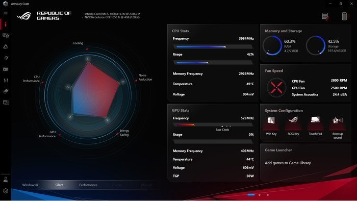 Review ASUS ROG Strix G15 G512 Armoury Crate
