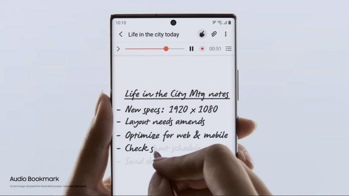 Samsung Galaxy Note20 Audio Bookmark