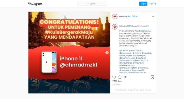 Cek Benar Menang Hadiah dari Telkomsel - Instagram
