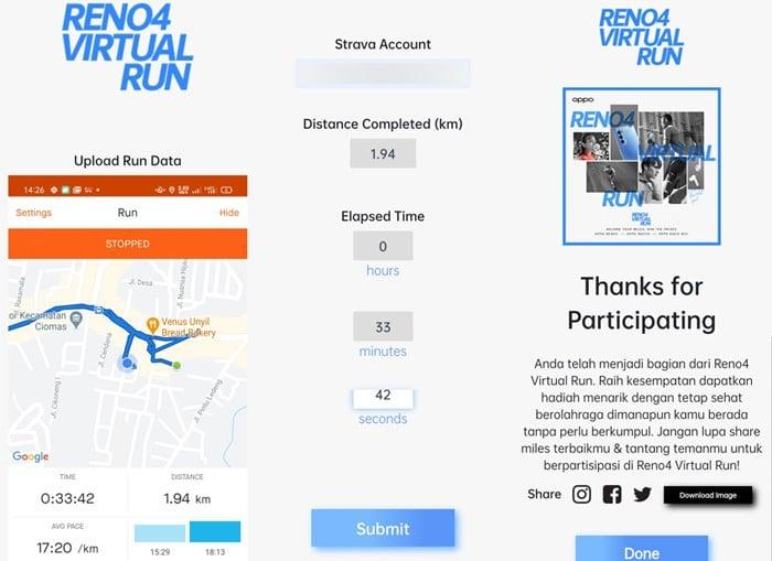 Strava Reno4 Virtual Run 3