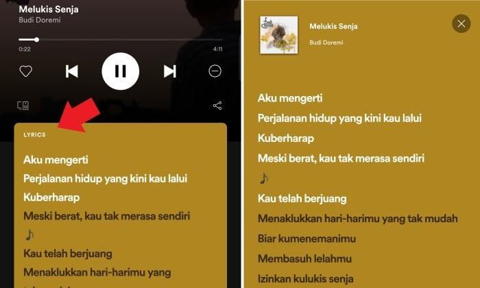 Cara Menampilkan Lirik di Spotify 3