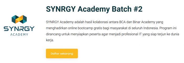 BCA SYNRGY Academy 2 Daftar
