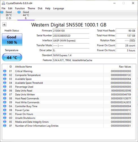 Review WD My Passport SSD 1TB CrystalDiskInfos