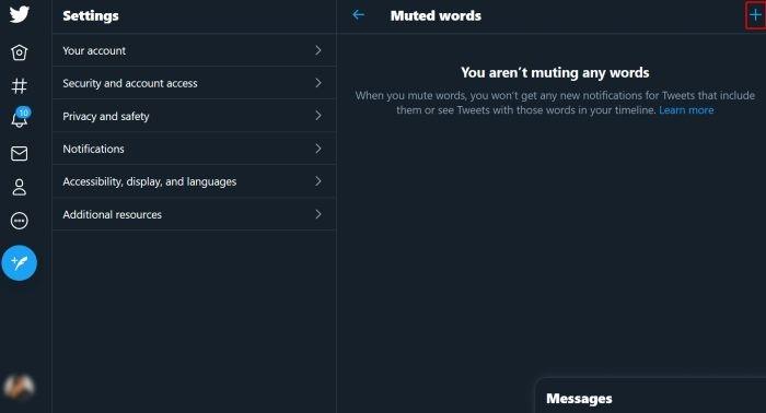 Twitter Add Mute Word
