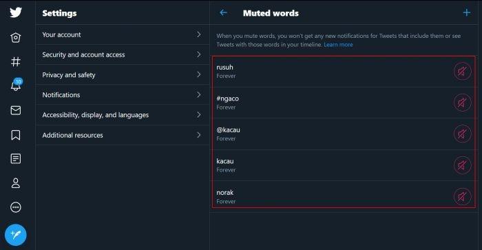 Twitter Add Mute Word List