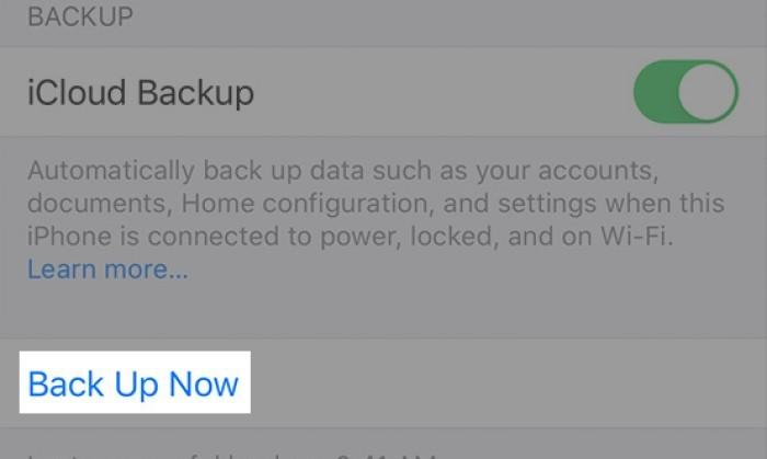 iCloud Backup Now