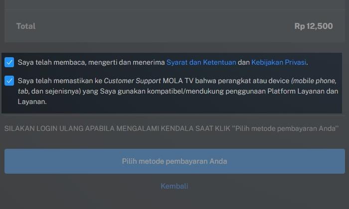 Beli Paket Berlangganan MOLA TV Pilih Metode