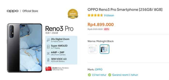 OPPO Reno3 Pro Blibli