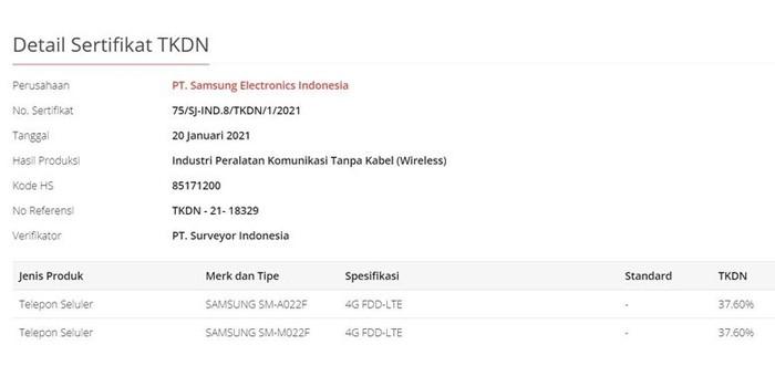 Samsung Galaxy A02 TKDN