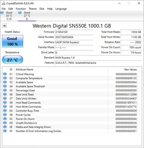 SanDisk Extreme Portable SSD CrystalDiskInfos