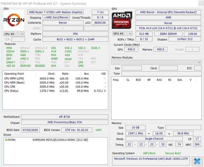 HP ProBook 445 G7 HWiNFO