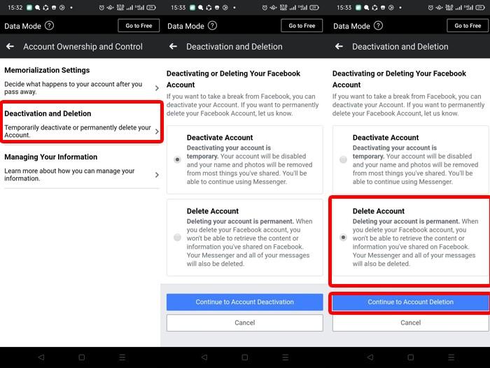 Facebook Delete Account Smartphone 2
