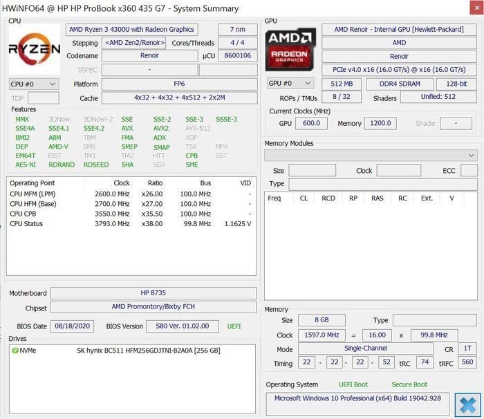 HP ProBook x360 435 G7 HWiNFOs