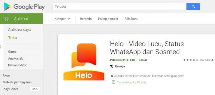 Helo Google Play Store