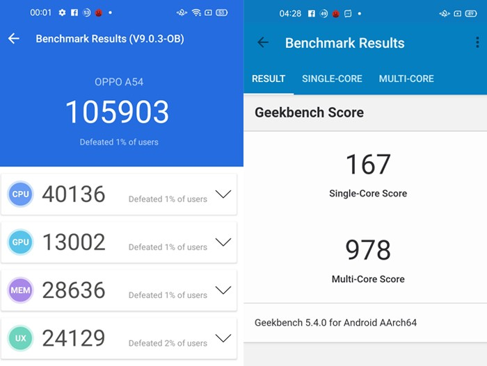 OPPO A54 Performance Benchmark