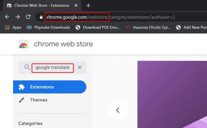 Google Chroma Webstore