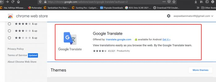 Google Translate Extension Part 1