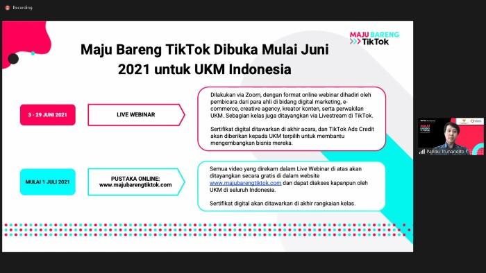 Jadwal Kelas Online UKM Maju Bareng TikTok