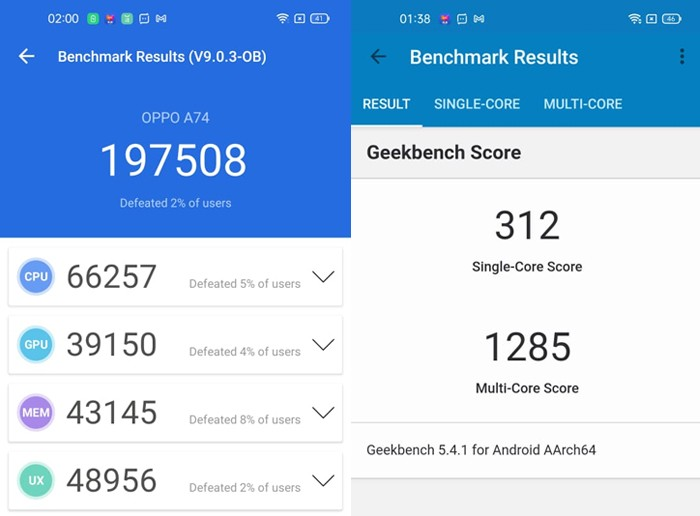 OPPO A74 Performance Benchmark
