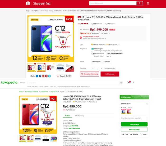 realme C12 Diskon Tokopedia Shopee