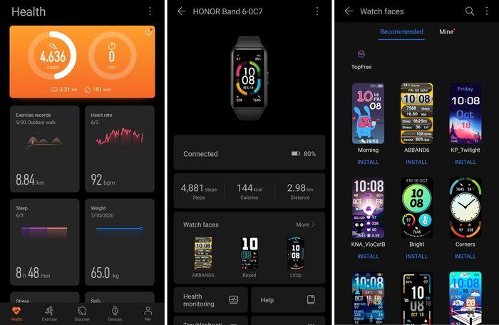 HONOR Band 6 Health App