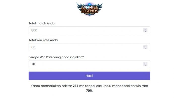 Hitung Win Rate Mobile Legends